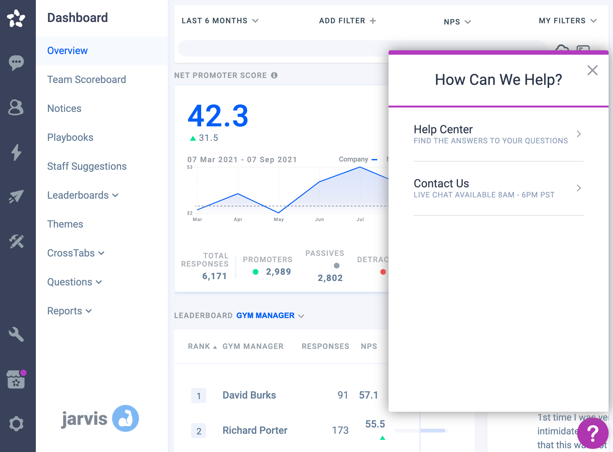 asknicely dashboard with open support chat widget