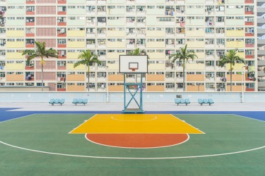 A colorful basketball court in Florida
