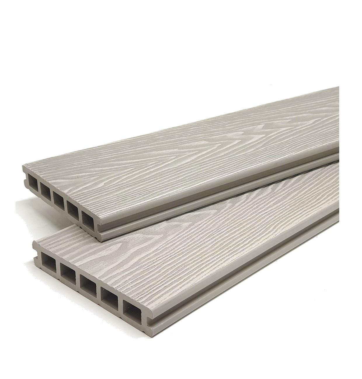 Ash Grey Reversible Woodgrain Composite Decking Kit 3.6m Boards (Price per sqm/£27 per board)