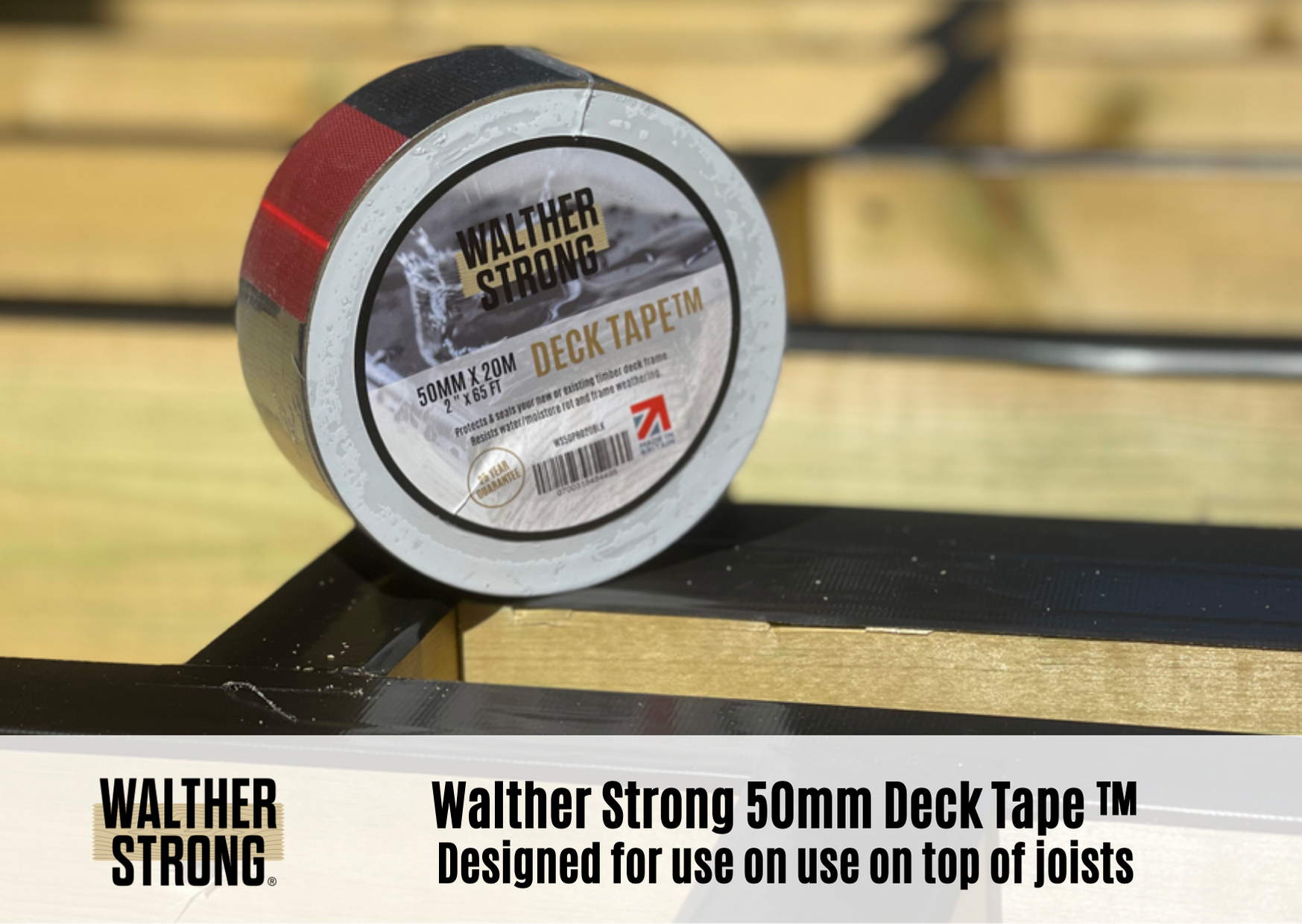 DECK TAPE® 50MMx20M Black  [Recommended for use on top of joists]