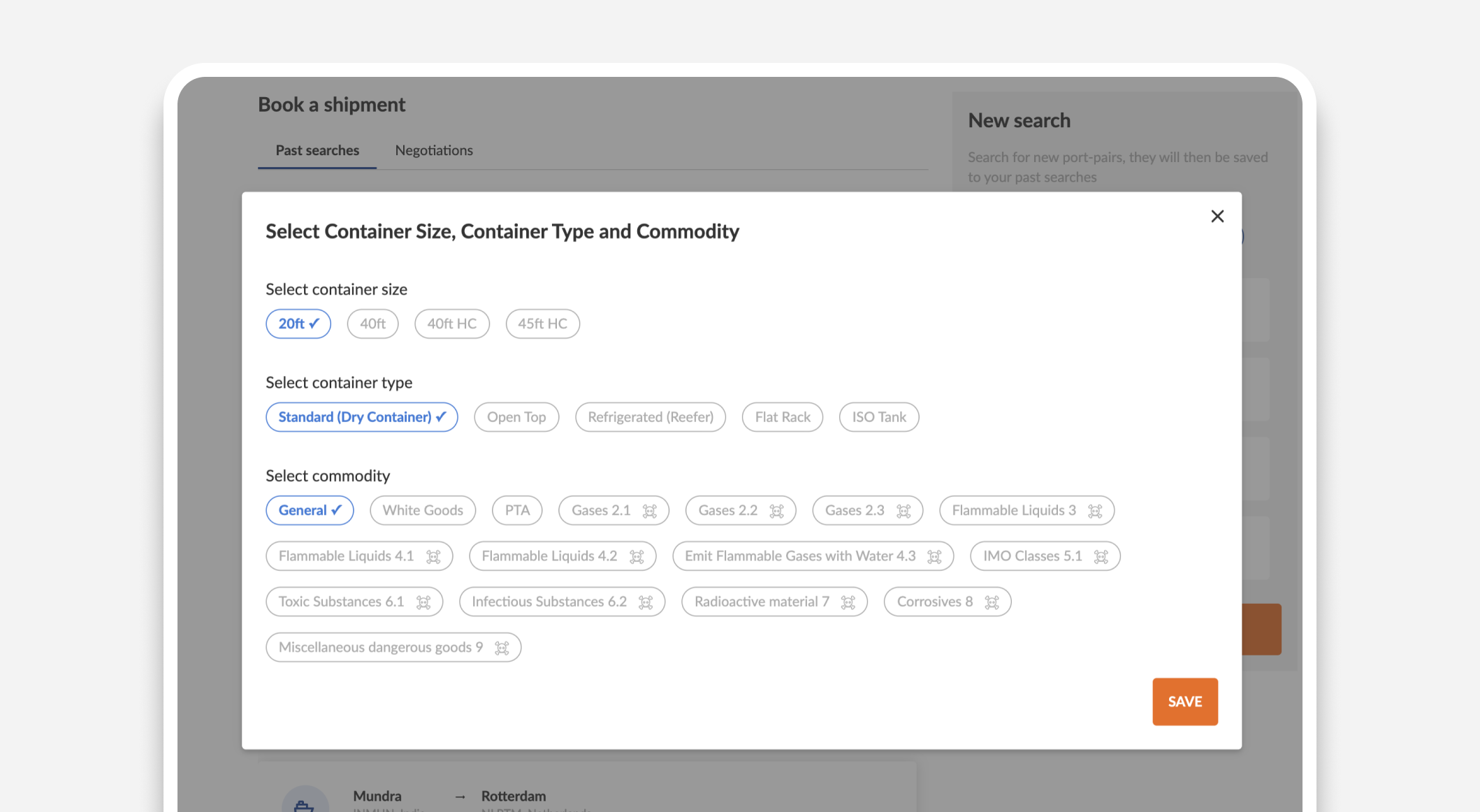 Cogoport - Select container size, container type and commodity in Freight Rate Search Page