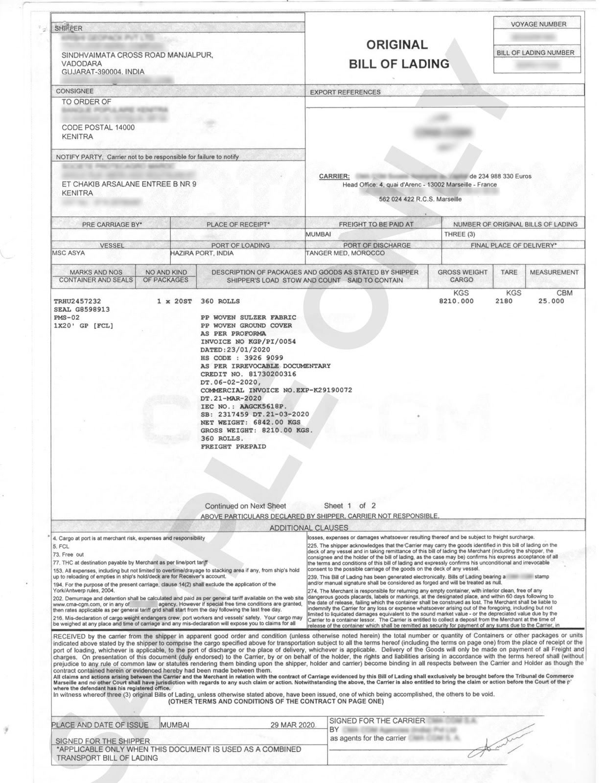 Sample image of a Master Bill of Lading