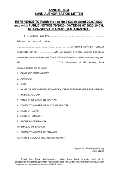 Bank Authorisation Letter for AD Code