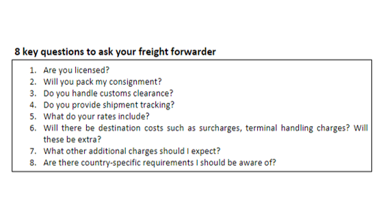 8 key questions to ask your freight forwarder