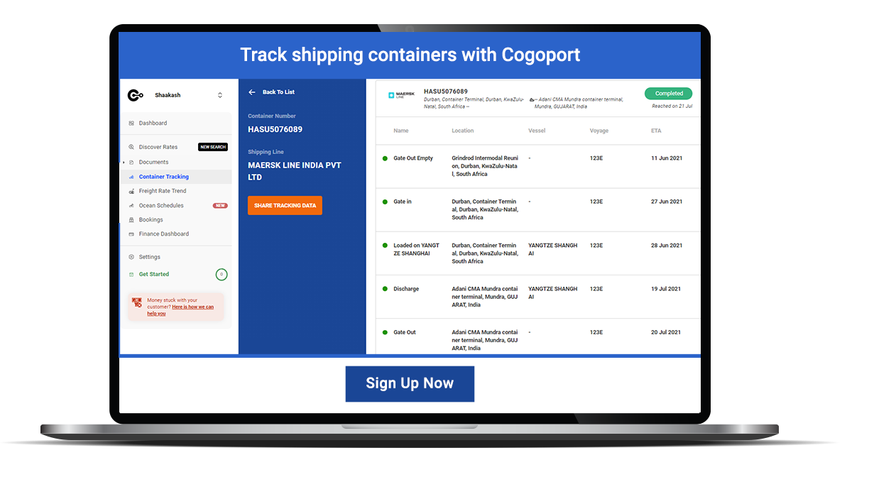 Track all your shipping containers in one place, with Cogoport