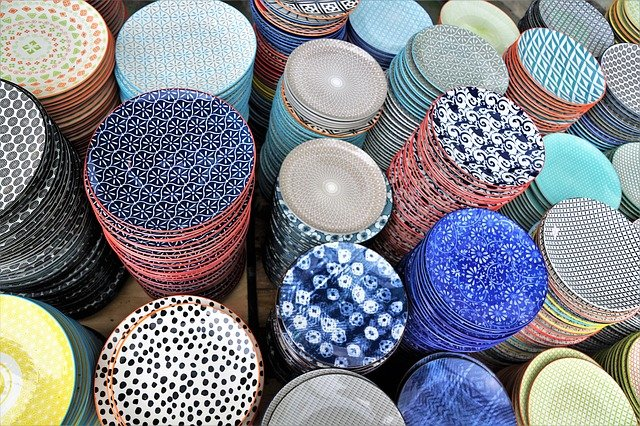 Manufacturers in China generally specialise in a particular product, such as these ceramic plates.
