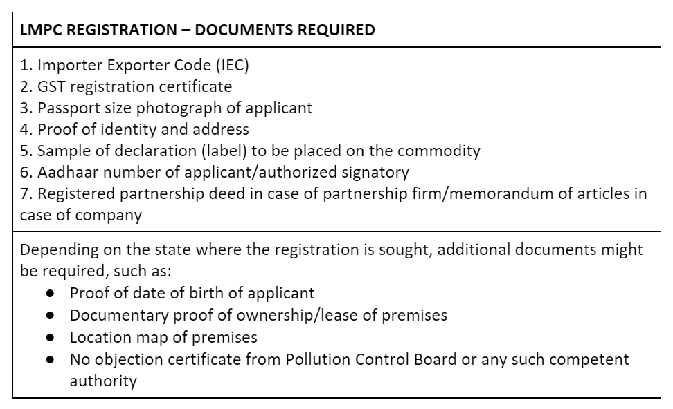 Documents required for LMPC registration