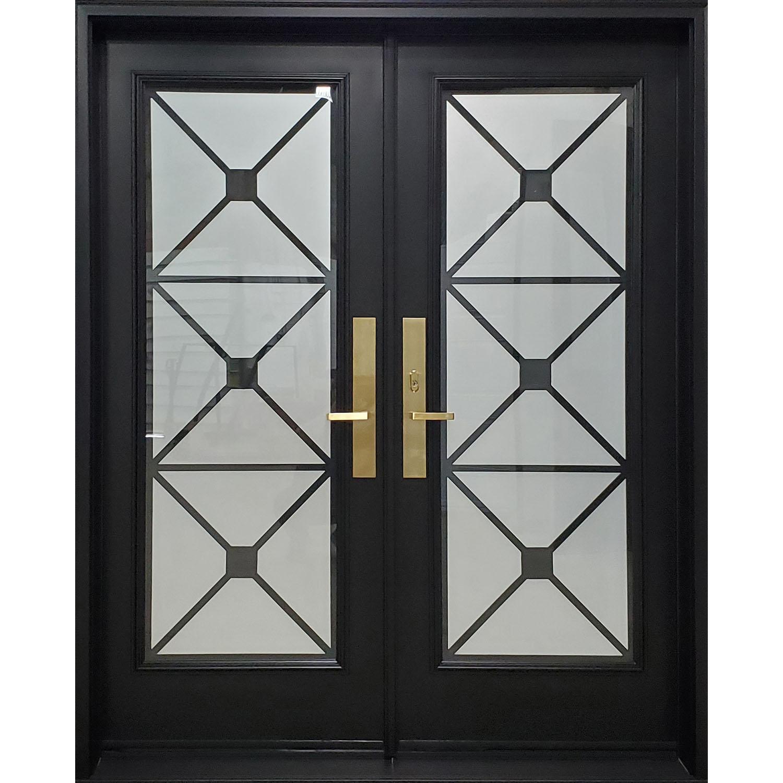 Double Door with Full Lite Excalibur Wrought Iron