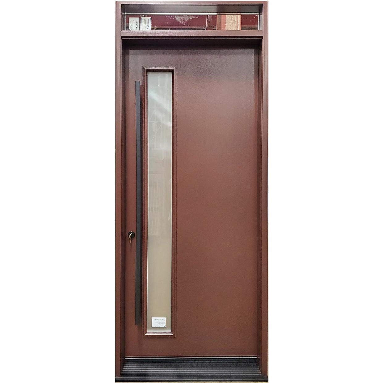 Mahogany grain fiberglass door with square pull bar