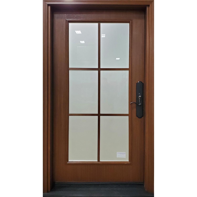 "42"" Oak textured fiberglass door with Sandblasted glass and SDLs"