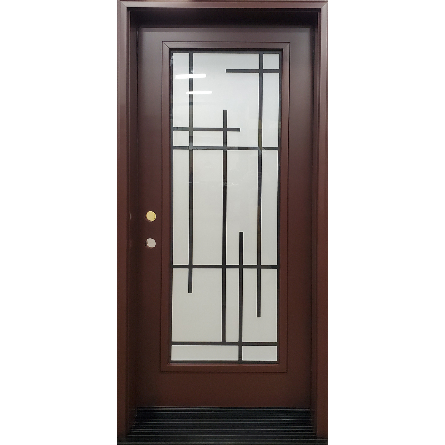 Full lite modern Millenia Wrought Iron in contemporary frame