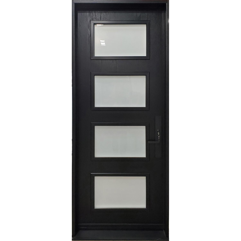 4 Lite Oak 8' Textured Fiberglass with Sandblasted glass
