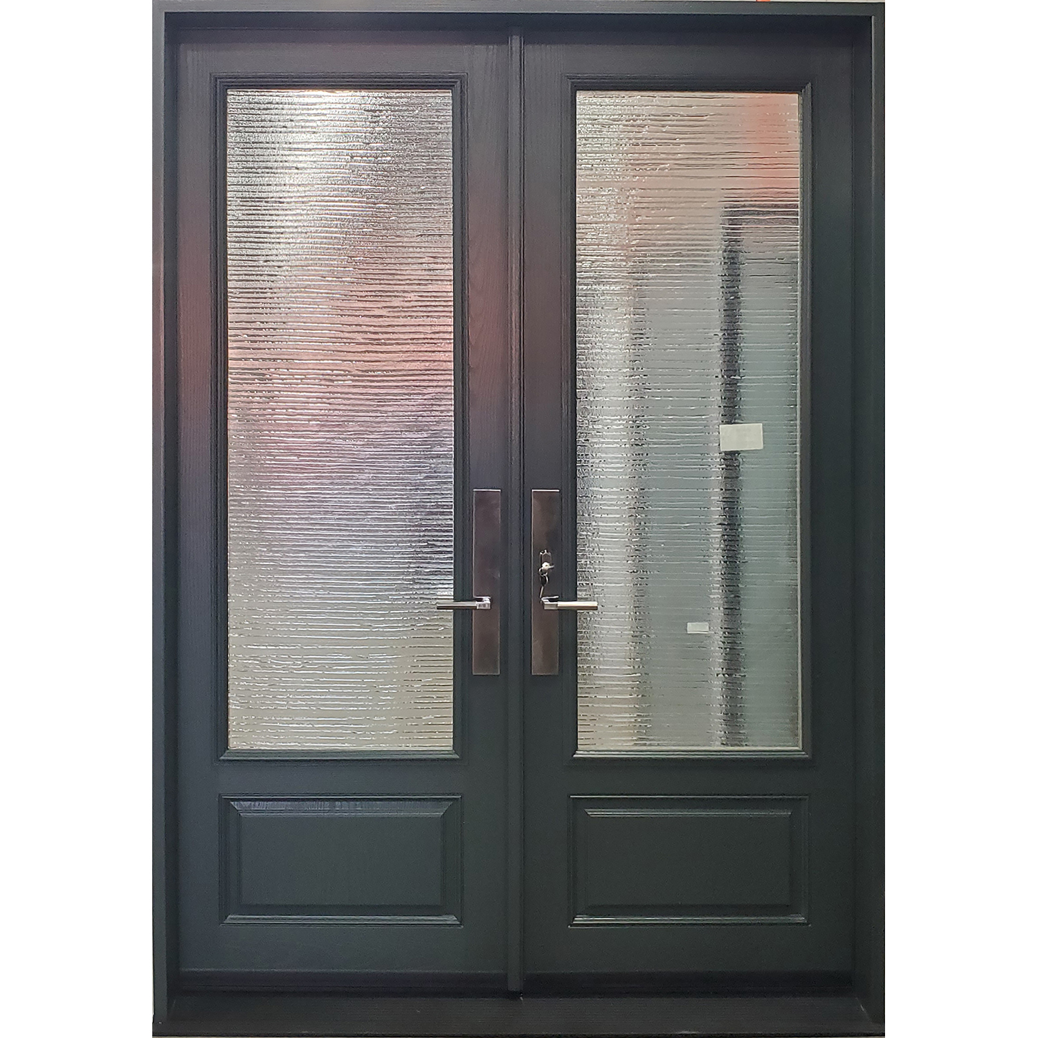 8' Oak textured fiberglass French door with 3/4 textured glass