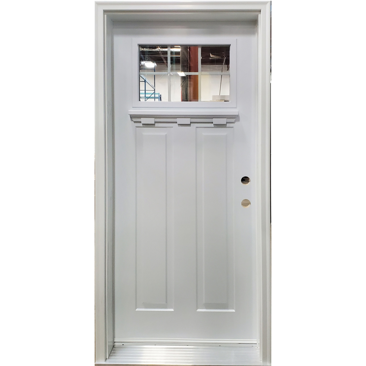 White Victoria door with Dentil Shelf and Grills