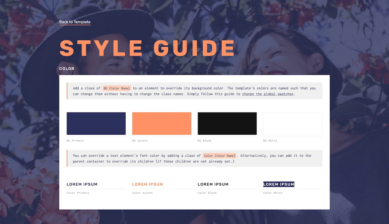 Lorelai wedding template style guide
