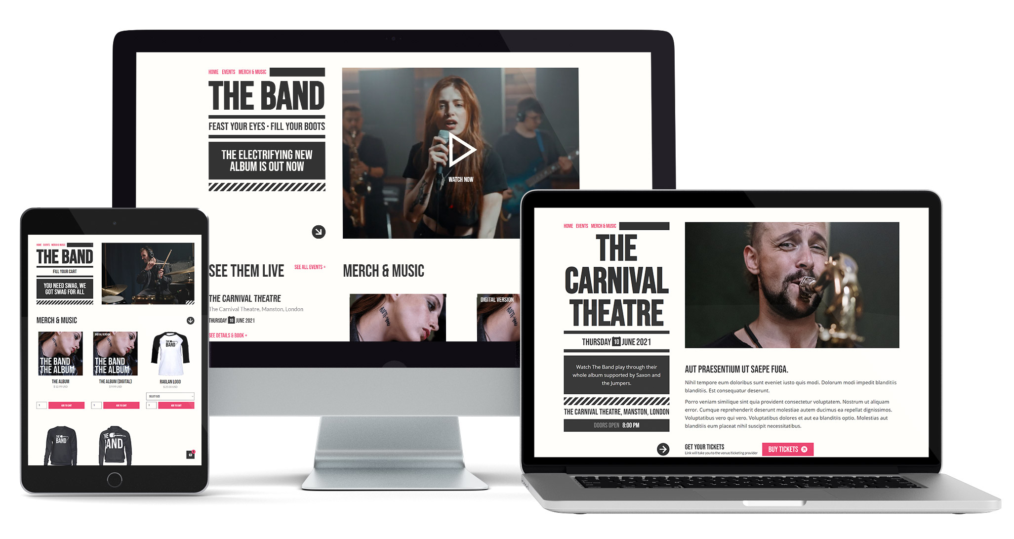 Mockup of the Band Music Webflow Template