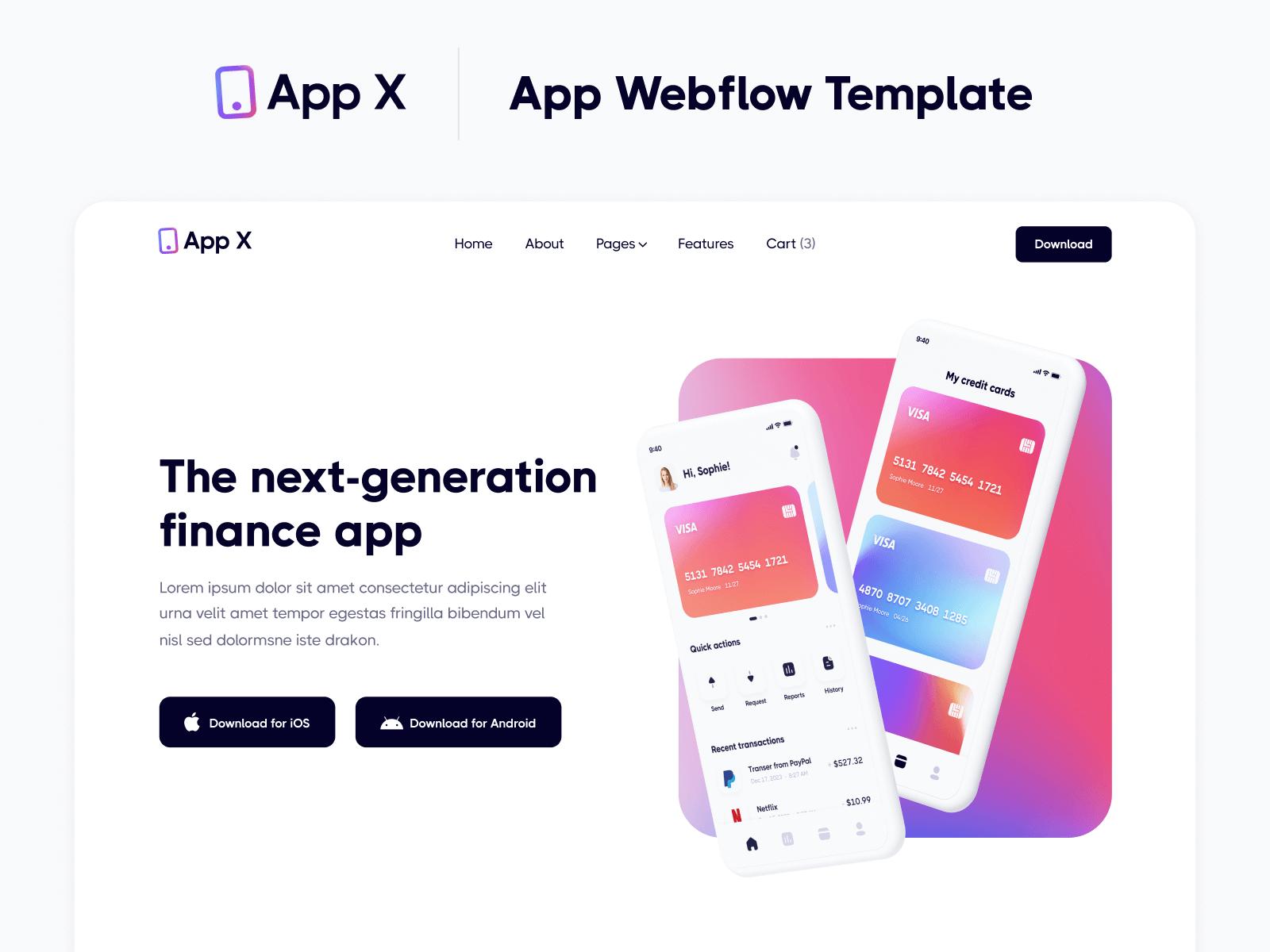 App Webflow Website Template