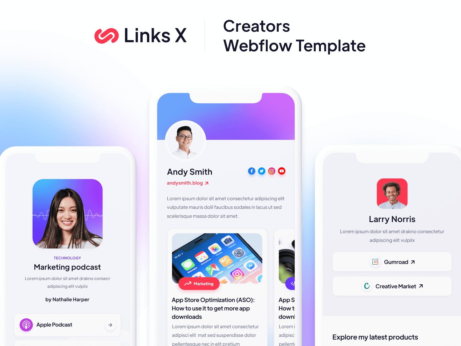 Links Mobile Creators Webflow Template