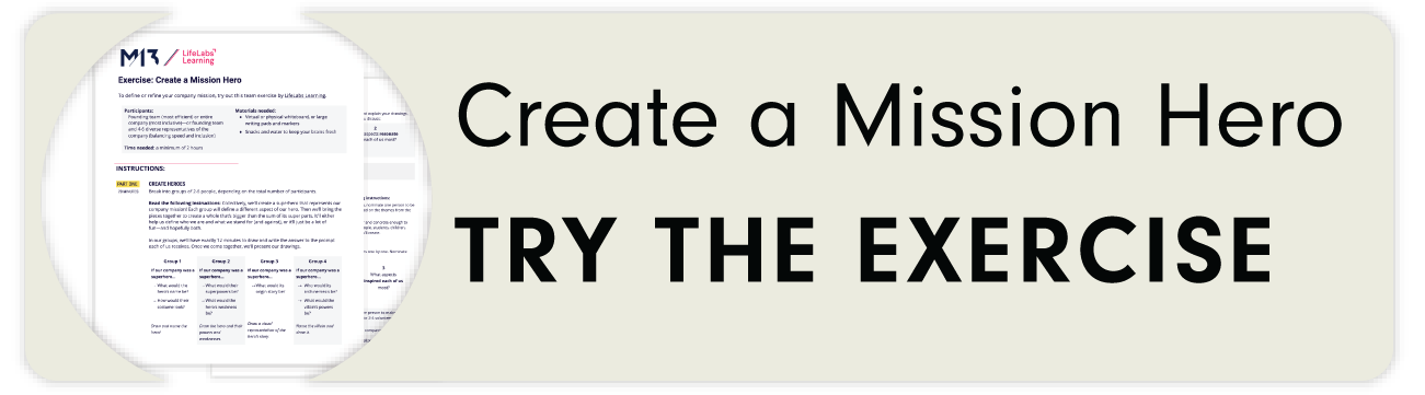 Click this button to get the template for Create a Mission Hero exercise