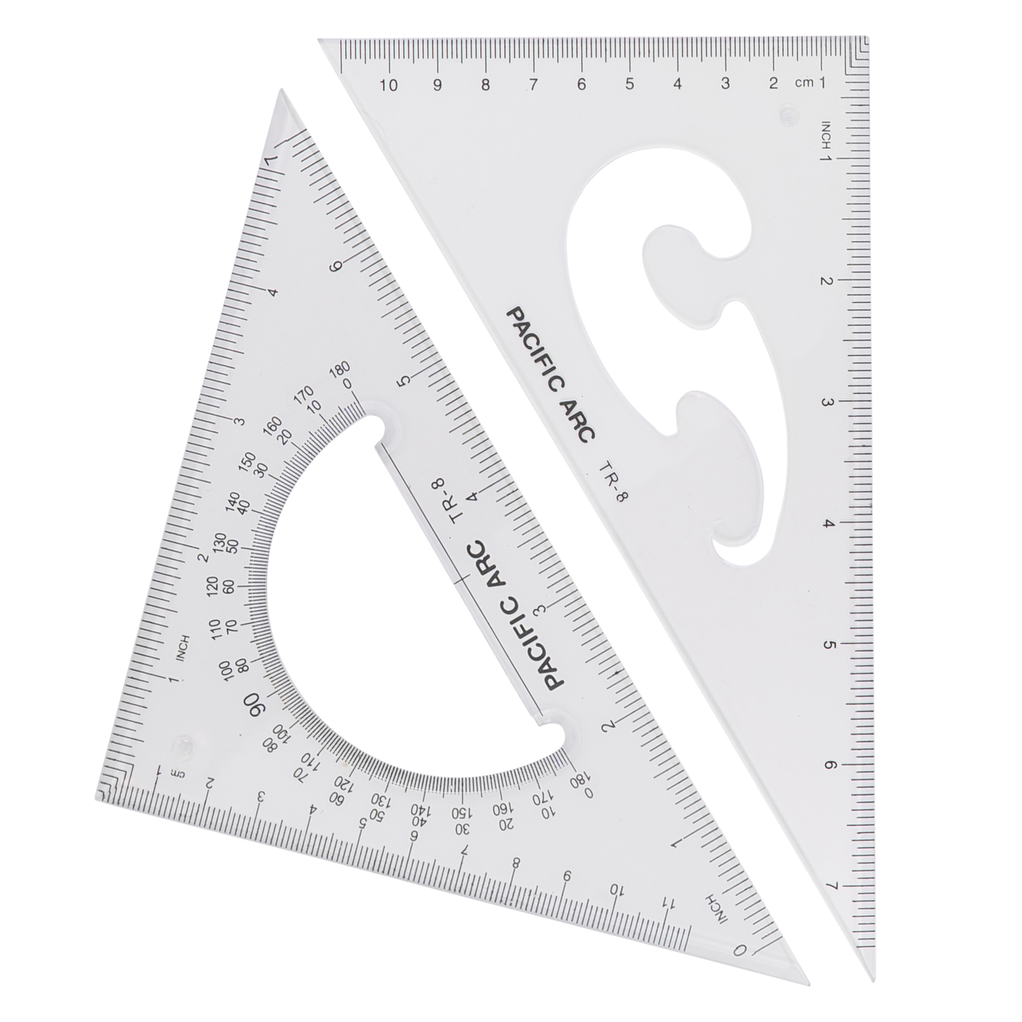 scholastic acrylic drafting triangles with protractor inside of triangle