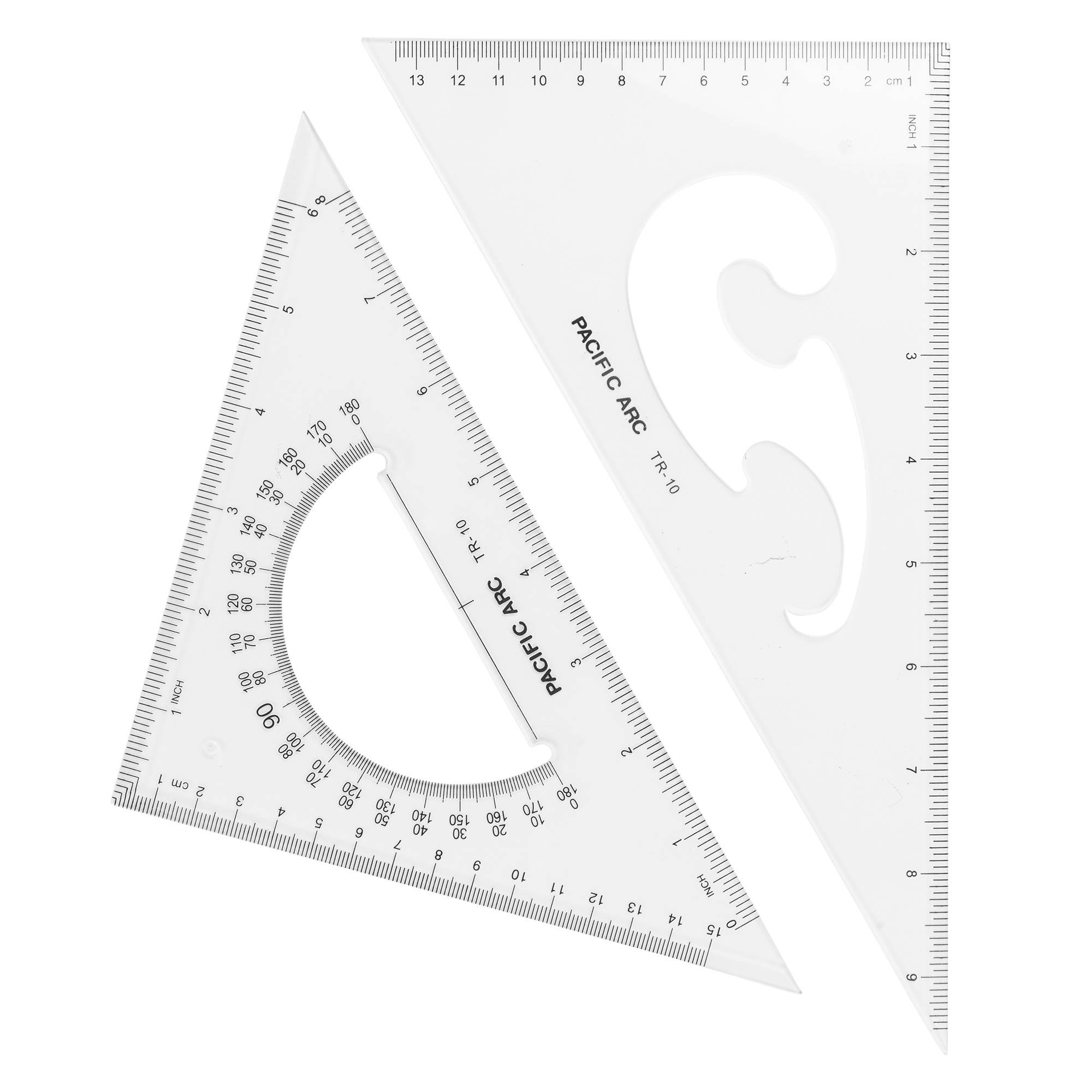 large scholastic acrylic double triangle with protractor and french curve inside the triangle design by pacific arc