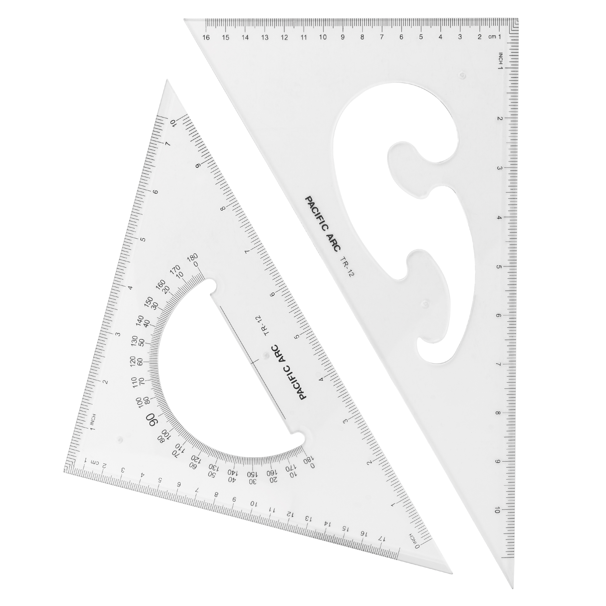 Scholastic drafting triangle with french curve and protractor design two in one by pacific arc