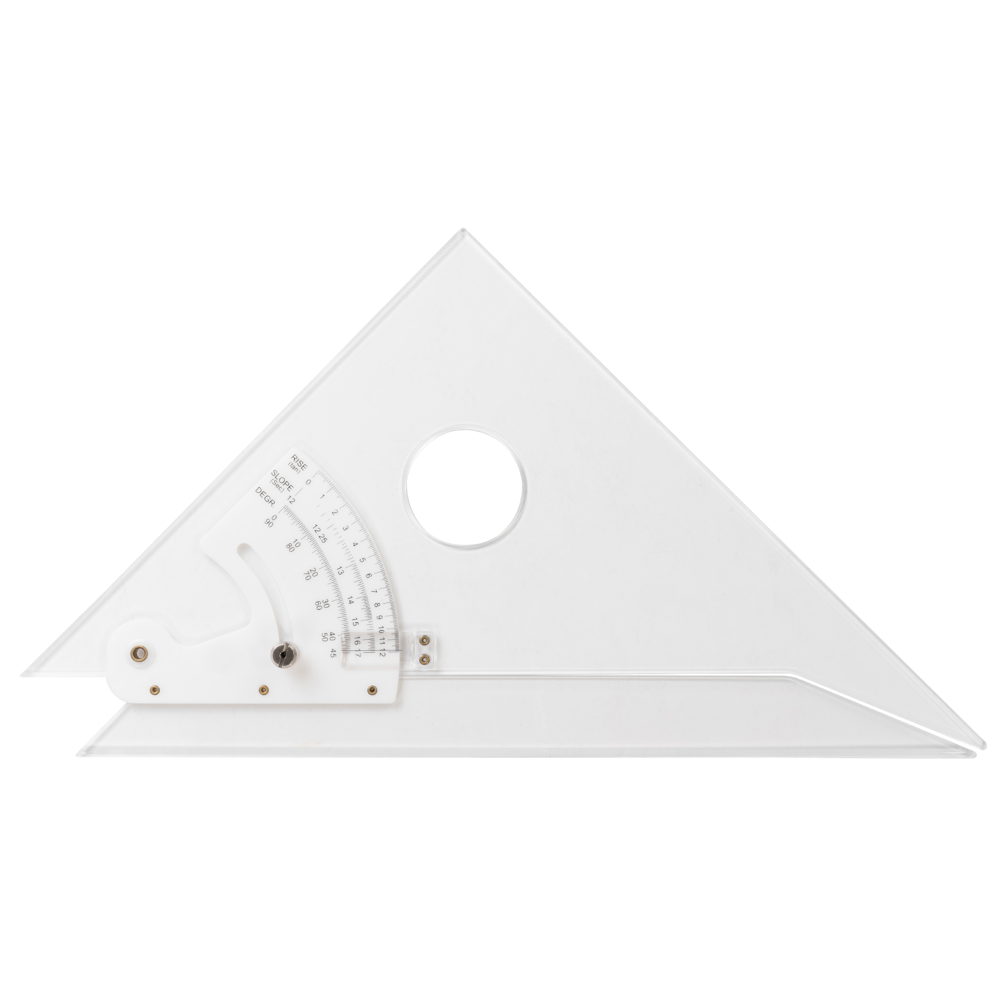 adjustable triangle with a circular holepunch great for holding and making circular design within your square measurement design by pacific arc