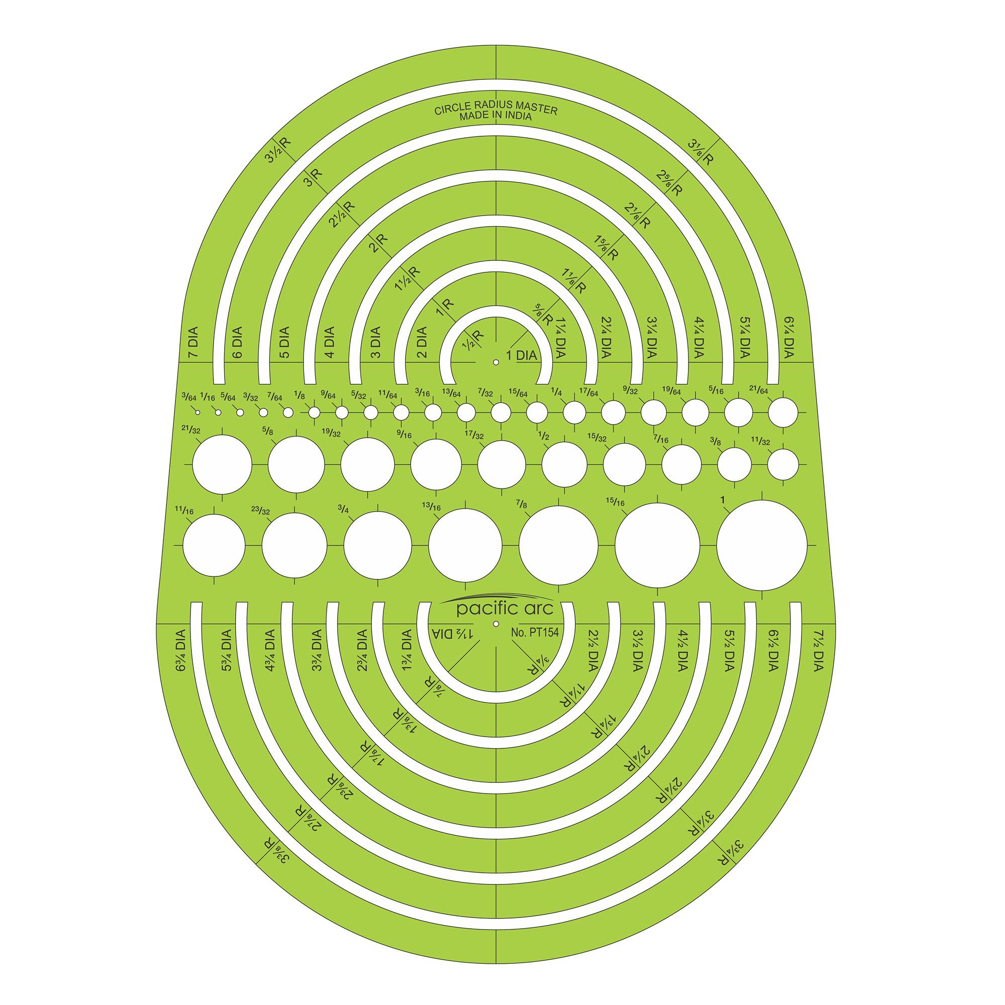 radius circular drafting templatge pacific arc