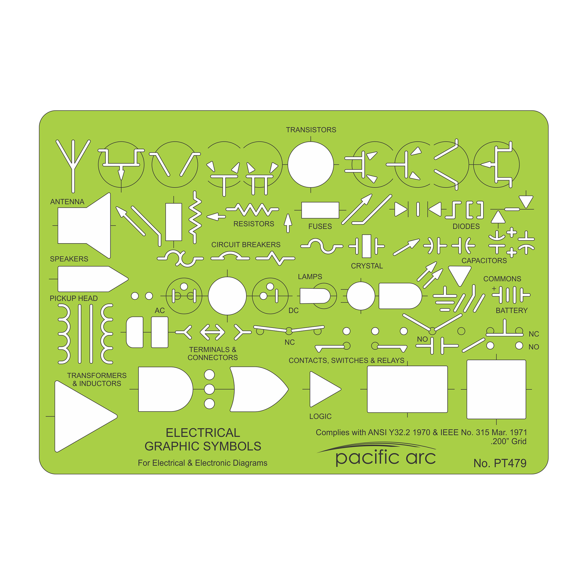 Electrical graphic symbols drafting design template by pacific arc