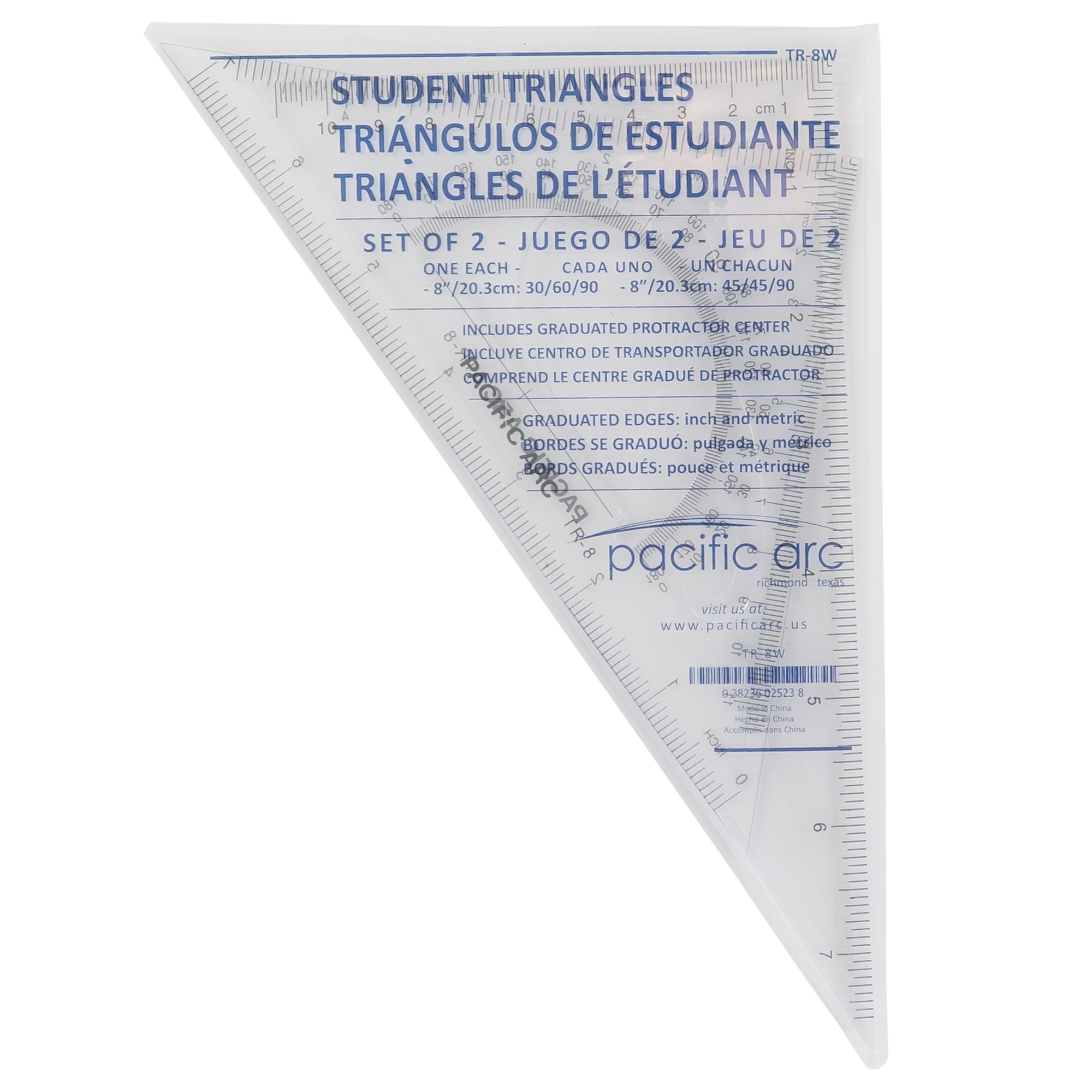 scholastic drafting triangle set with protractor and french curve design in the triangle by pacific arc