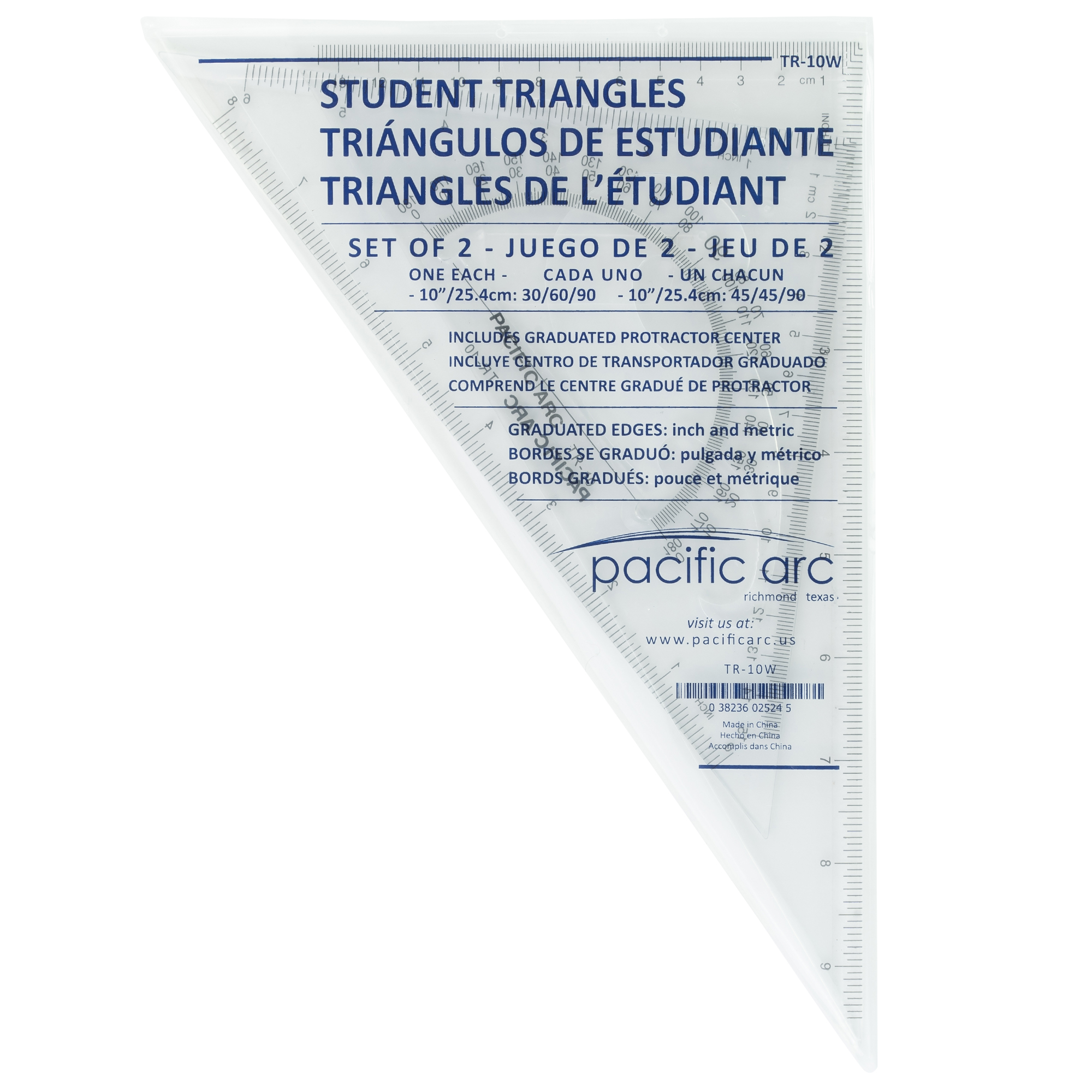 drafting triangles for scholastic use for school or class with protractor and french curve design inside the triangle by pacific arc