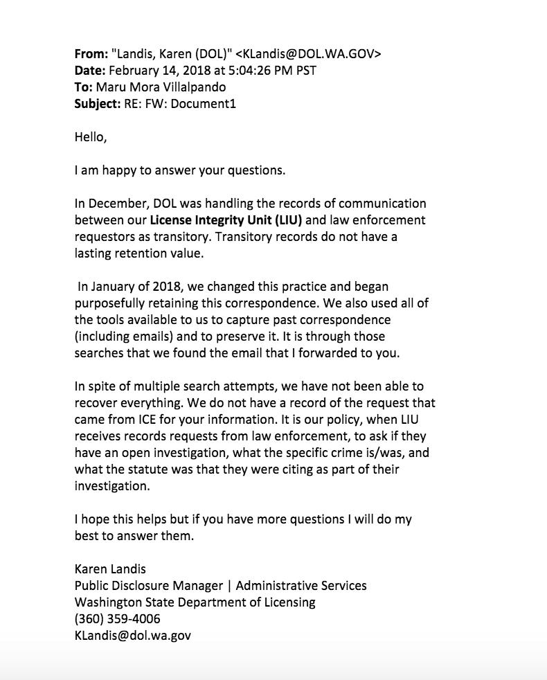 Washington State Sent Information On Undocumented Activist