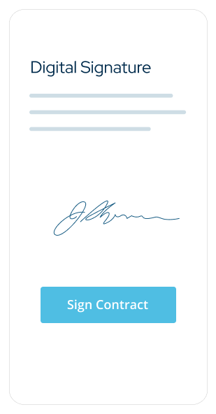 Graphic of mobile digital contract signatures