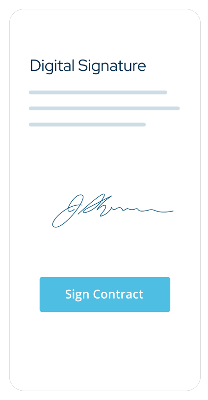 Product illustration of a mobile contract signature