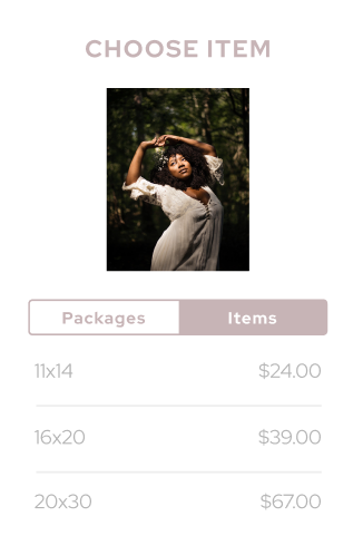Shopping cart for purchasing images of different sizes