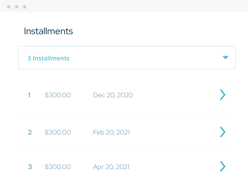 Image of an example of individual payment installments