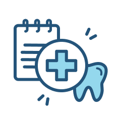 Healthcare icon of medical cross, tooth, and pad of paper