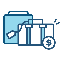 Flexible vacation icon of travel bags