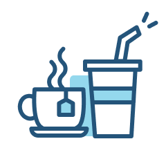 Snacks icon of coffee and tea