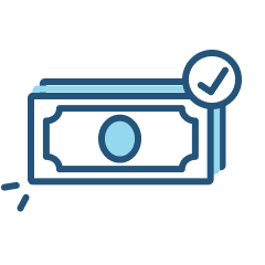401k match icon of money and a check mark