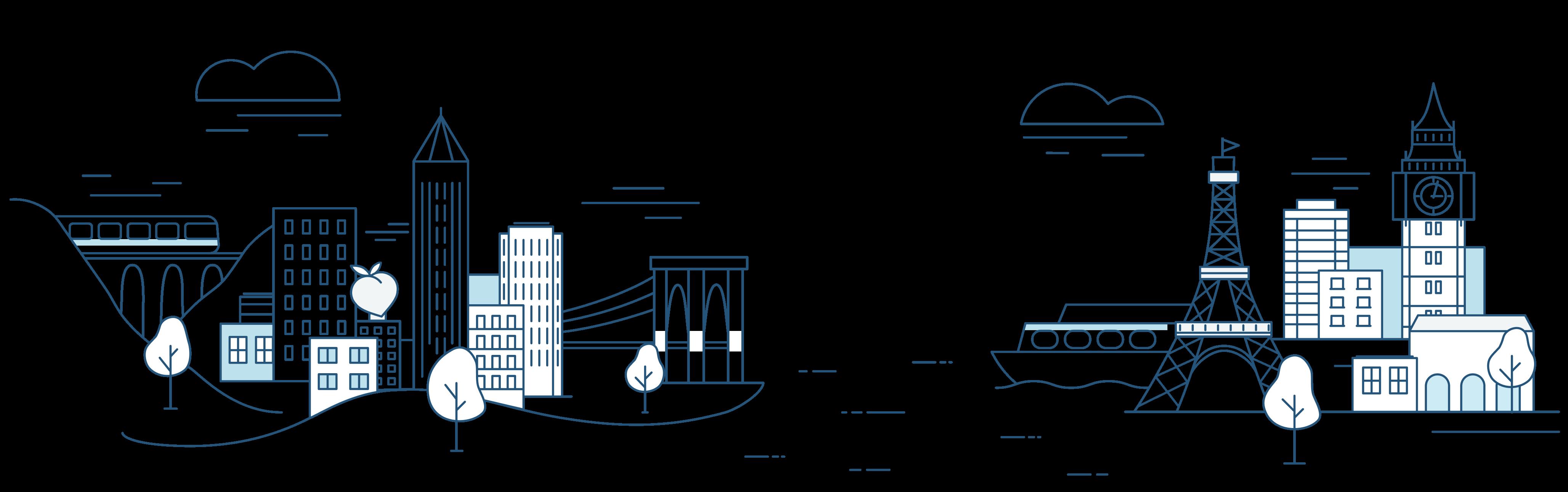 Illustration of landmarks around the world