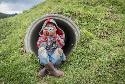 Photo of child using a camera while sitting in a field