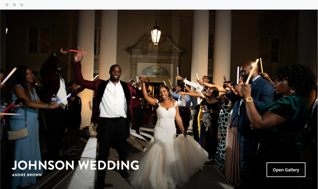 Online ShootProof gallery cover of wedding by Andre Brown