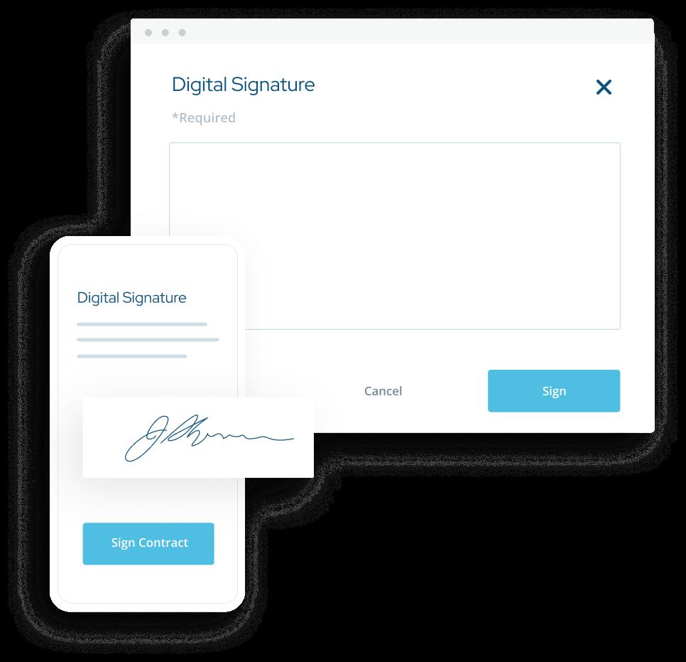 ShootProof's digital signature popups for desktop and mobile