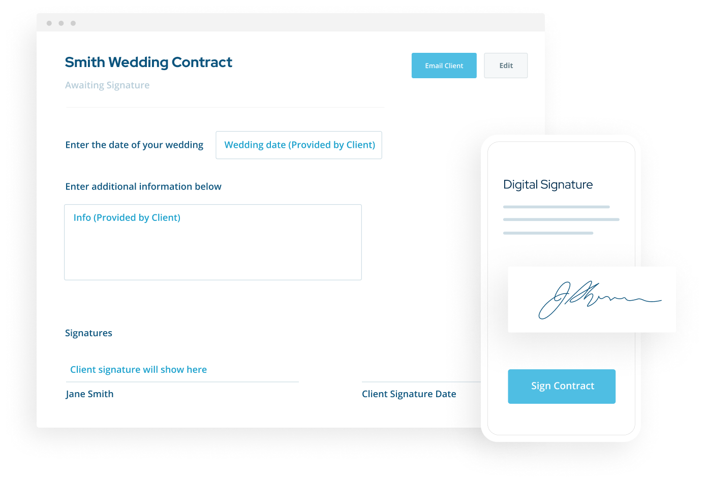 ShootProof's fillable contracts interface with a digital signature screen on mobile