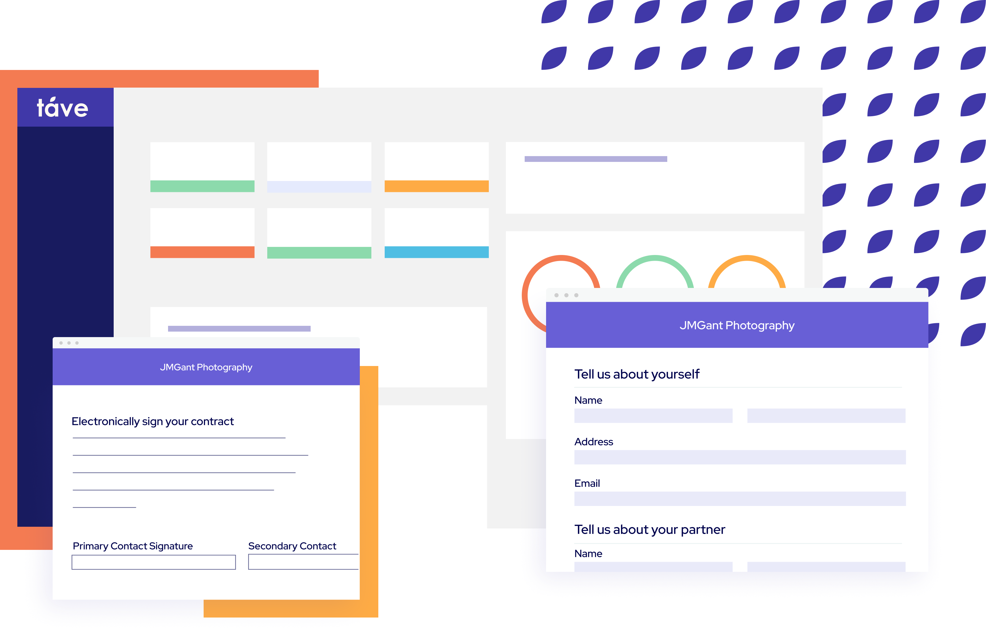 Táve's dashboard with layered graphics of contracts and questionnaires.