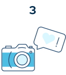 Step 3: An illustrated camera and a heart in a speech bubble