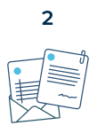Step 2: Illustrated contracts and invoices coming out of an envelope