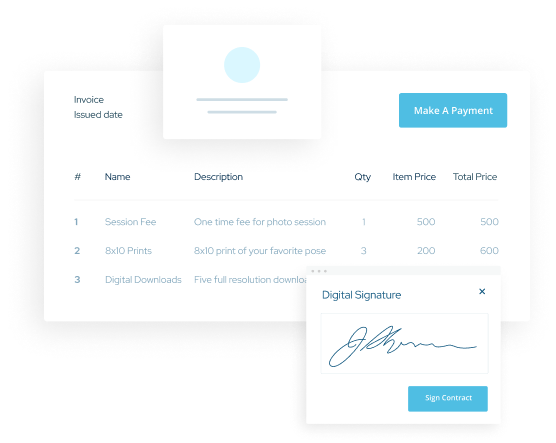 ShootProof's interface for of a online signature for a contract and an invoice