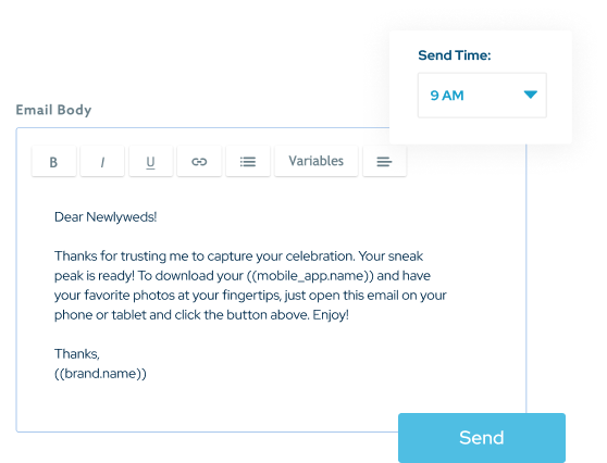 Creating an email sales campaign in ShootProof